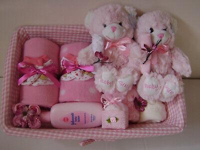 NEW Deluxe Twin baby Girl gift basket #Baby gift #Baby Shower #Birth #Girl (Deluxe New Baby Girl Basket)