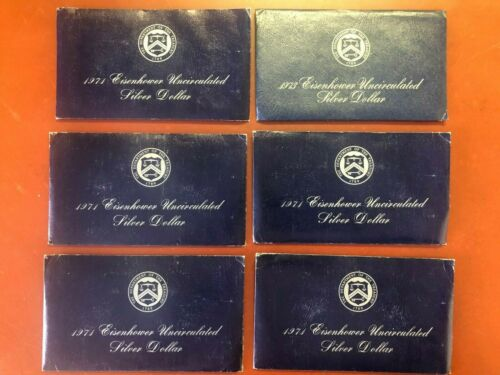 Lot Of (6) Eisenhower 40% Silver Unc. Dollar Coins 1971-5,1973-1