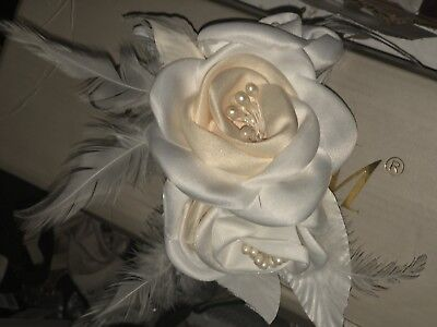 Elegant Wedding Bridal Hair Comb Satin Flower  Headpiece Hair Clip - Feathered Headpiece