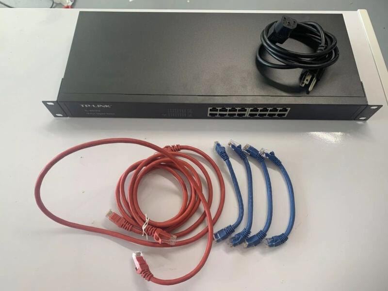 TP-LINK 16-Port Gigabit Ethernet 1000Mbps Rack Mount Network Switch Plus Extras