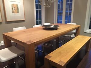 Crate and Barrel Big  Sur dining table and bench