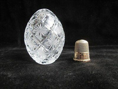"Vintage FABERGE 2.5"" EGG Signed & Numbered #2027 Cut Crystal MOTHERS DAY GIFT"