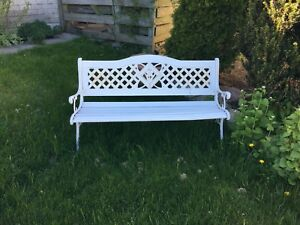"Cast iron and wood  bench 49/14"": weather proofed !"