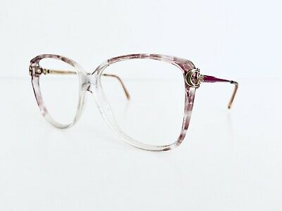Gucci Vintage Clear Pink & Silver Leopard Print Oversize Glasses Italy 55 17 135