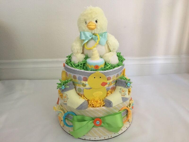 2 Tier Baby Chick/Duck Diaper Cake