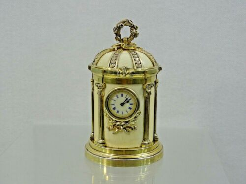 RARE ANTIQUE FRENCH SILVER GILT MINIATURE CLOCK France Sterling FABULOUS QUALITY