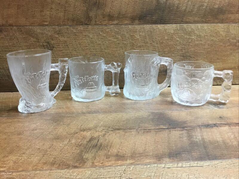Complete Set of 4 Vintage 1993 McDonalds Flintstones Glass Mug/Cup Set
