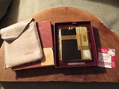 Vintage Black/Gold tone Ronson Ten-A-Case Untested Lighter Cigarette Case