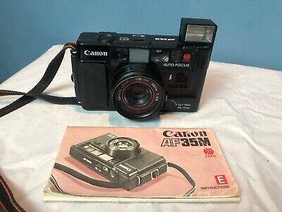 Canon AF35M - 38mm f2.8 Camera w/ Instruction Manual - Compact Film Cam Flash