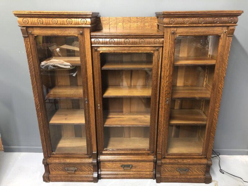 "Tiger Oak Eastlake Victorian 3 Piece 3 Door/Draw Bookcase 62 1/2"" X 66"" X 17"""