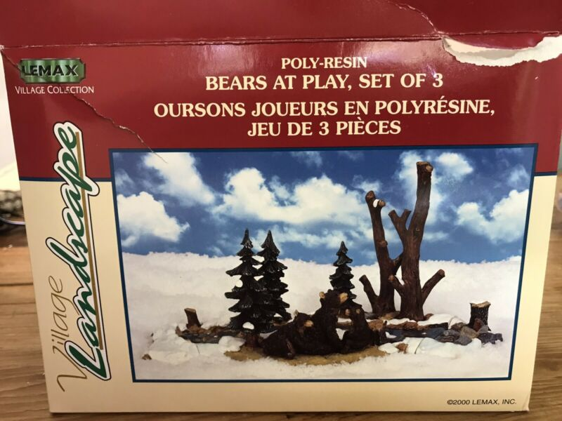LEMAX Bears at Play Christmas Village Scene 03326A 3-Piece Set Pre-Owned EUC
