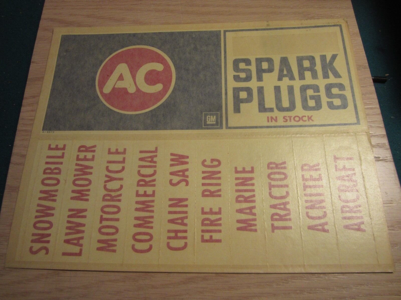 1969 AC spark plug window decal 11 X 4-1/2