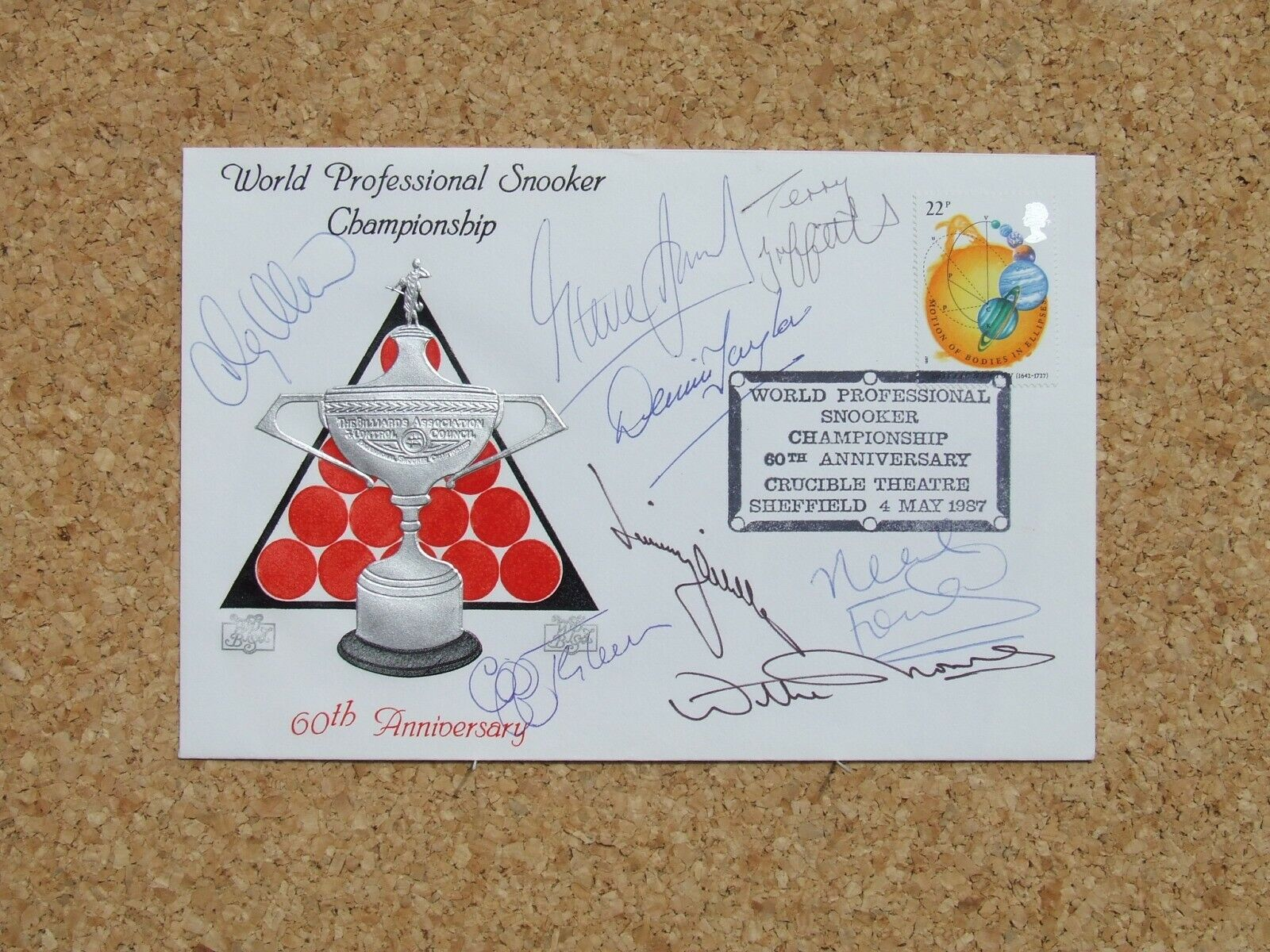 60th Anniversary World Snooker FDC Signed Thorne Davis Griffiths White +4 others