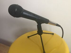 Microphone with stand and cord