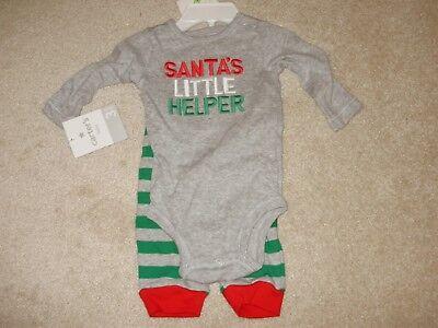 Christmas Outfit, Santa Little Helper, 2-Piece, Carter, Size:3 Months,New - Santas Little Helper Outfit