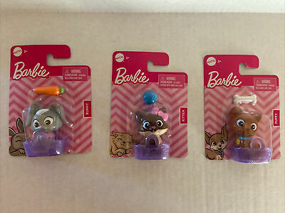 Lot of 3 New Mattel BARBIE Pets Puppy With Bone Cat With Yarn Bunny Carrot Gift