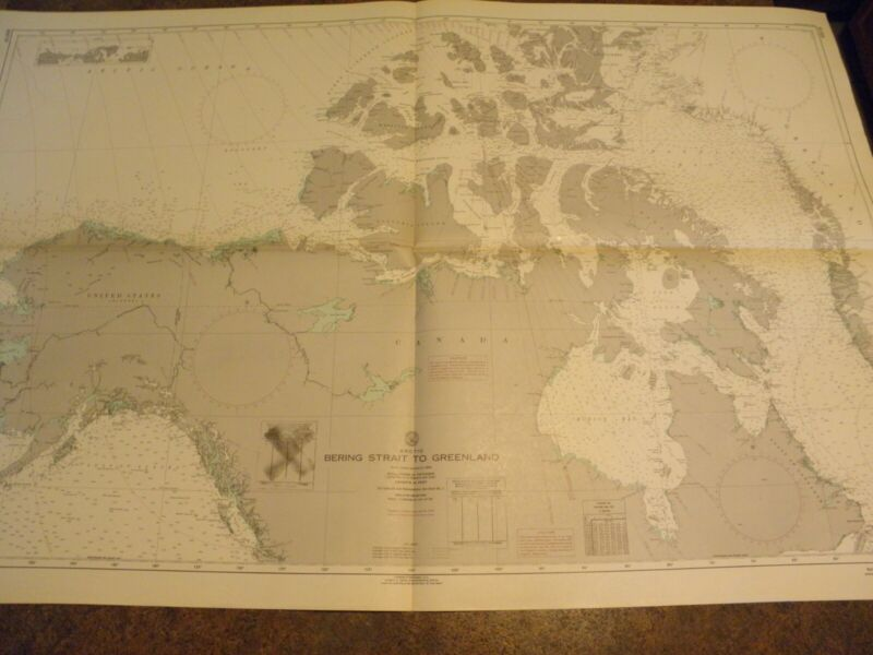 VINTAGE NAUTICAL CHART,1960s-ARCTIC-BERING STRAIT TO GREENLAND
