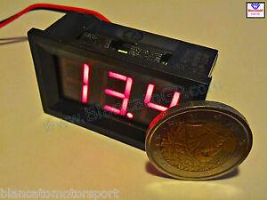 Voltmetro-digitale-LED-ROSSO-2-5-30V-tensione-tester-pannello-auto-moto-quad-DC