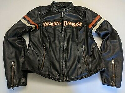 M - Harley Davidson Women's MISS ENTHUSIAST 3 in 1 Black Leather Jacket w Hoodie