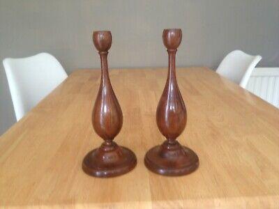 Vintage Pair Wooden Turned Candlesticks