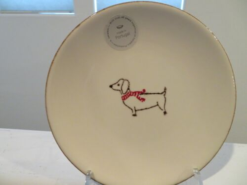 Portugal DACHSHUND Ceramic Holiday Dinner Plate Dog wearing Scarf NEW