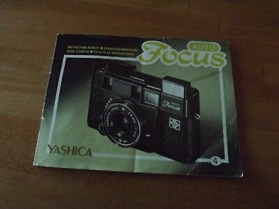 YASHICA AUTO FOCUS Operating Manual Only