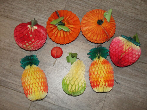 Vintage Fruits Honeycomb Tissue Paper Cocktail Lot of 7