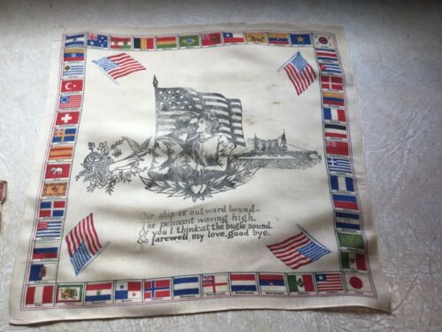 XXX - RARE WW1 6 AMERICAN &  50 WORLD FLAGS SILK SCARF BATTLESHIP lot 1914 -1918