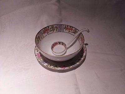 Vintage Nippon Porcelain Mayo/Condiment Set Roses Gold Trim Footed