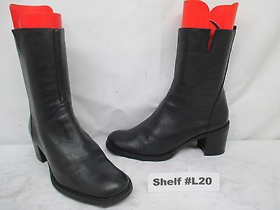 Leather Boots For Girls (BCBG GIRLS Black Leather Zip Mid-Calf Fashion Boots Size 9.5)