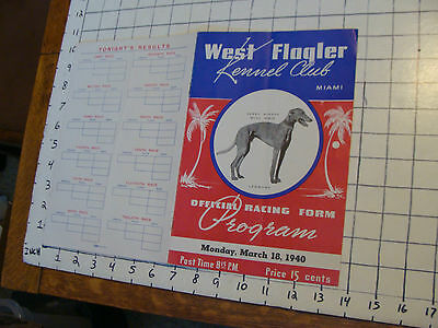 Vintage paper: 1940 West Flagler Kennel Club official Racing Form DOGS MIAMI