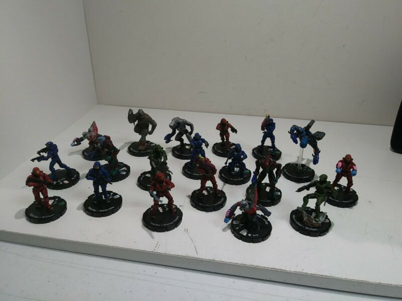 Lot of 19 Halo ActionClix (HeroClix) Master Chief Spartan Grunt Brute Arbiter