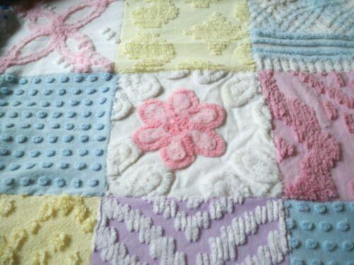 Plush Vintage Chenille Bedspread Quilt~Handmade~Chic Patchwork Design