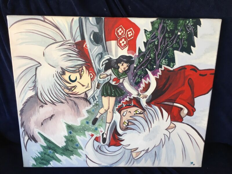 Inuyasha Sesshomaru Kikyo Inu Yasha Anime 20x16 Painted Fan Art