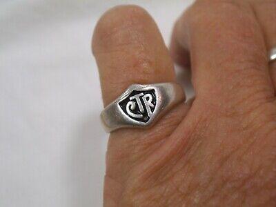 Vtg Signed 925 Sterling Silver Letter D Wide Mens Signet Ring Size 12 34