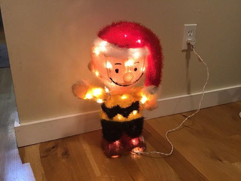 "17"" Peanuts Charlie Brown Tinsel Christmas Light Up decor"