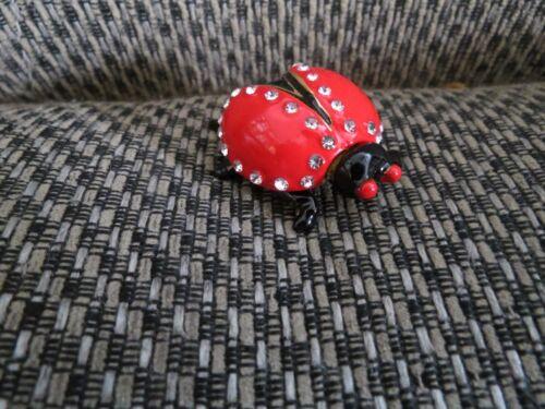 """""""Lady Bug""""  Hinged Enameled Pewter-Bejeweled ring/catchall box"""
