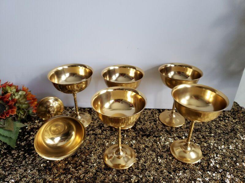 Vintage 24k Gold Plated Champagne Goblets - Set of 6
