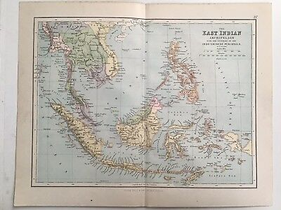 East Indian Archipelago, Indo Chinese Peninsula, 1881 Antique Map, Philips