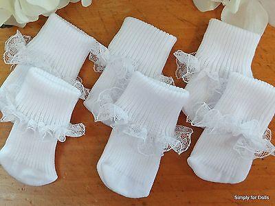 White Lace Trim Ankle Socks (Set 3 WHITE Lace Trim DOLL ANKLE SOCKS fits 15
