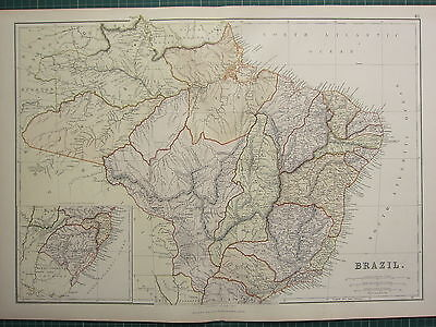 1882 LARGE ANTIQUE MAP ~ BRAZIL ~ GROSSO SAO PAULO BAHIA PARA AMAZON