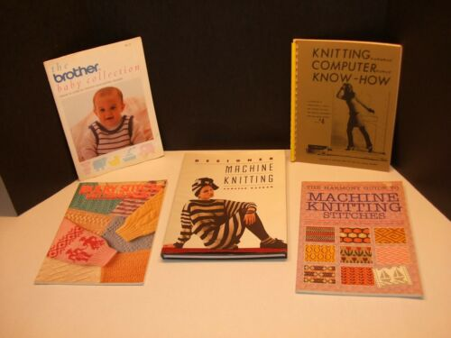 Lot of 5 Assorted Books for Knitting Machines Brother Bulky