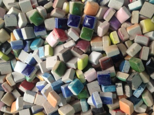 Ceramic Mosaic Tiles Mixed Assorted Colors Squares - 100 tiles - 3/8 inch
