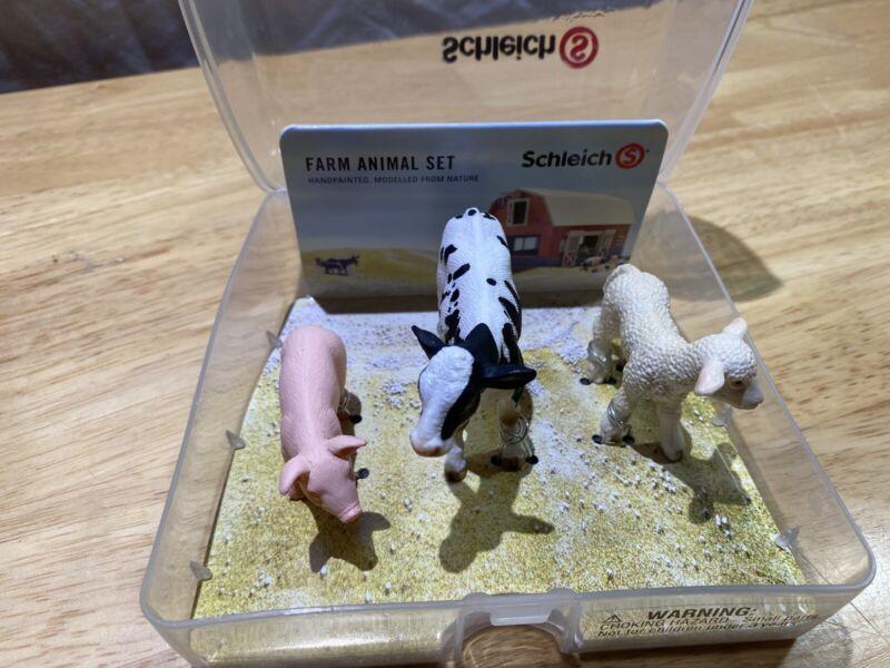 NEW Schleich Farm Animal Set ~ Baby Cow, Pig & Sheep Lamb -nice Plastic Case