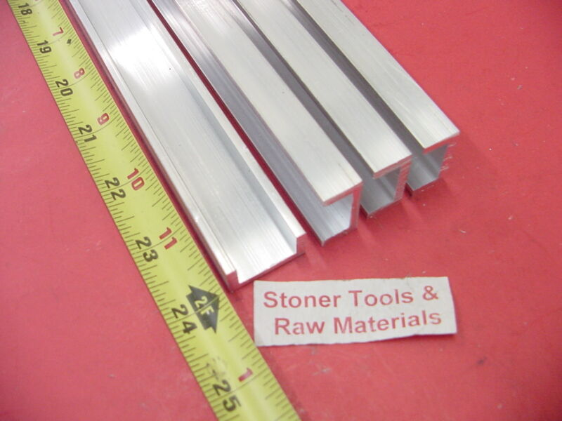 """4 Pieces 1""""x 1/2"""" ALUMINUM CHANNEL 6063 X 1/8"""" Wall 24"""" long T52 Mill Stock 8"""