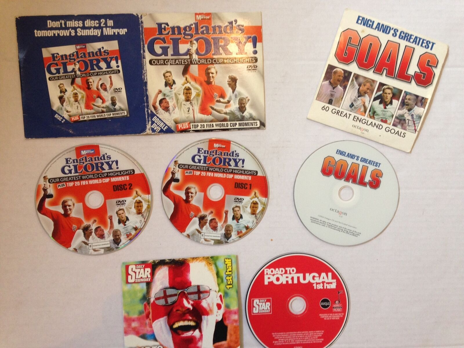 ENGLAND DVD x 3 CD x1 ROAD TO PORTUGAL 60 GREAT GOALS GREATEST WORLD CUP MOMENTS