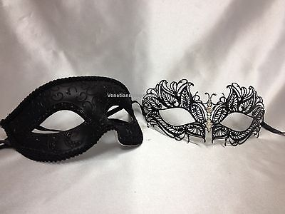 Couple Black White Masquerade mask Pair Costume Dress up Christmas New Year Eve (Black And White Couple Costumes)
