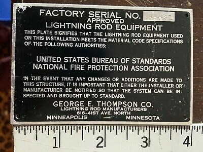 NOS Lightning Rod Installers Tag Minneapolis Minnesota  National Fire Protection