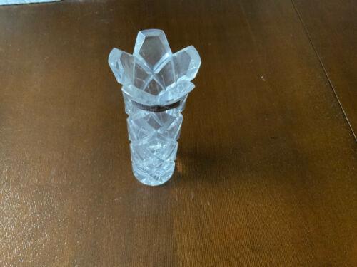"""VNTG Villeroy & Boch diamond 25 % lead crystal bud vase Germany 7"""" tall"""
