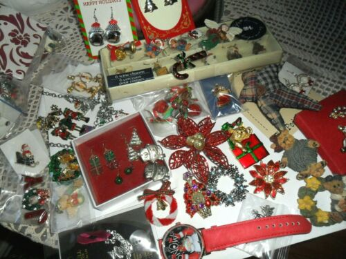 HUGE CHRISTMAS LOT EARRINGS, PINS, BROOCHES JEWELRY-SIGNED,RHINESTONE,WATCH #83C